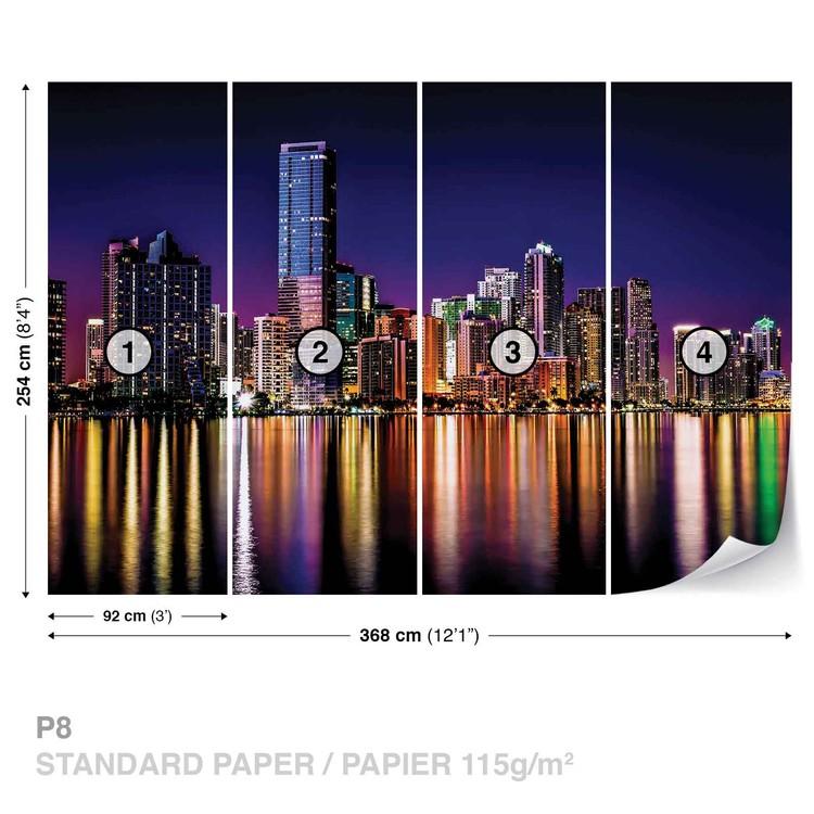 City New York Skyline Night Wallpaper Mural