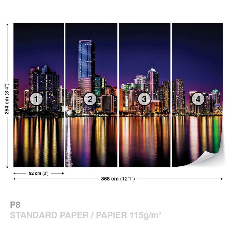 City New York Skyline Night Wallpaper Mural