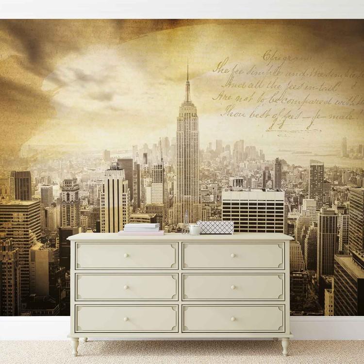 City New York Vintage Sepia Wallpaper Mural