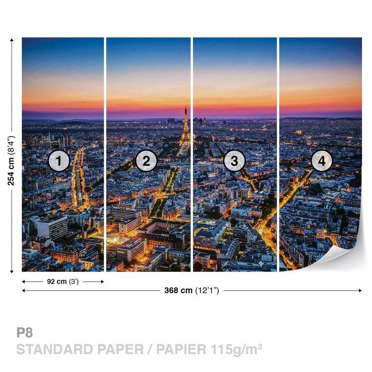 City Paris Sunset Eiffel Tower Wallpaper Mural