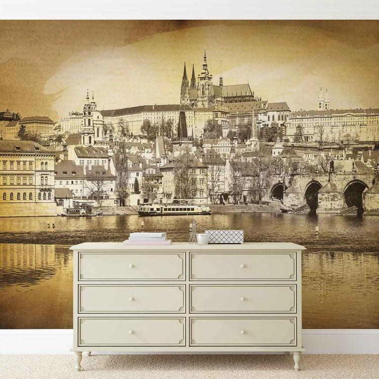 City Prague Bridge Cathedral River Sepia Wallpaper Mural