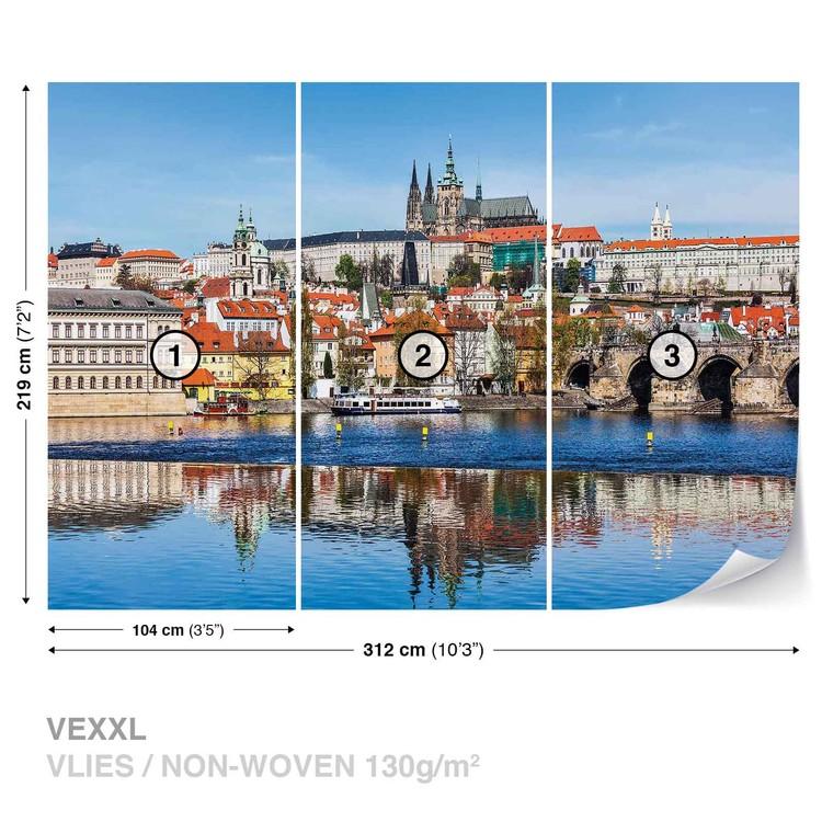 City Prague Bridge River Cathedral Wallpaper Mural