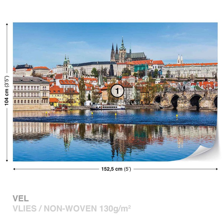 City Prague Bridge River Cathedral Wallpaper Mural