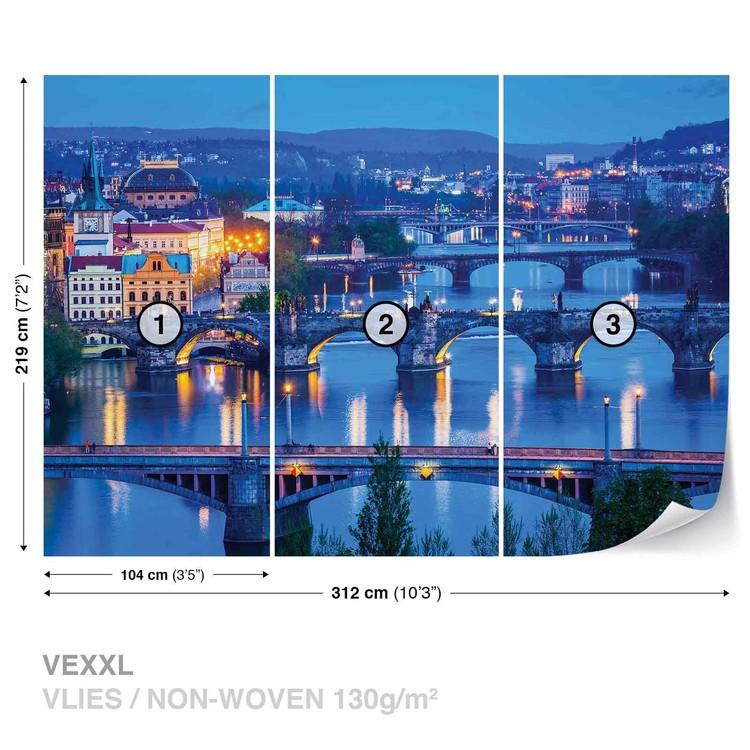 City Prague River Bridges Wallpaper Mural
