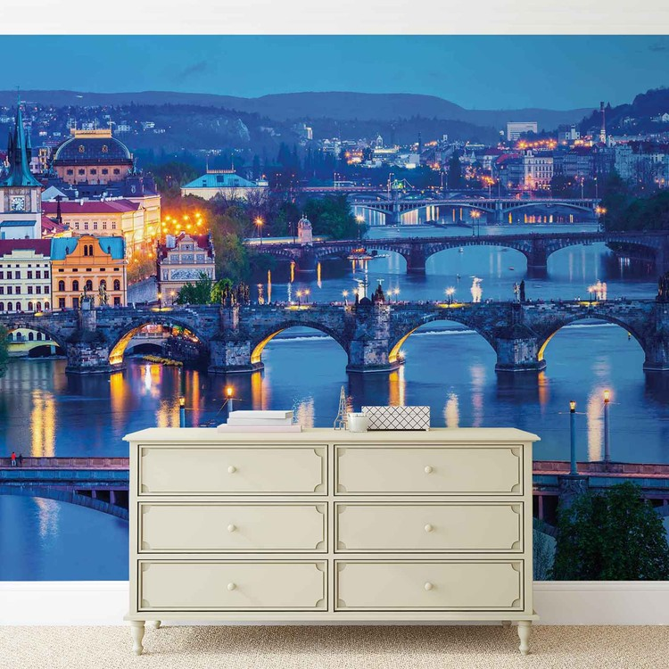 City Prague River Bridges Wallpaper Mural