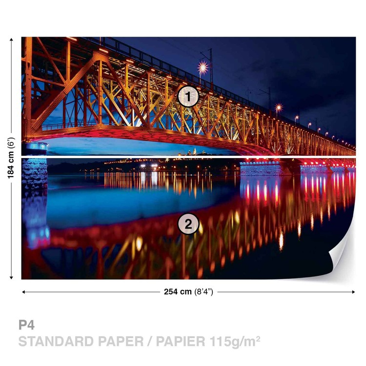 City Skyline Bridge Reflection Night Wallpaper Mural