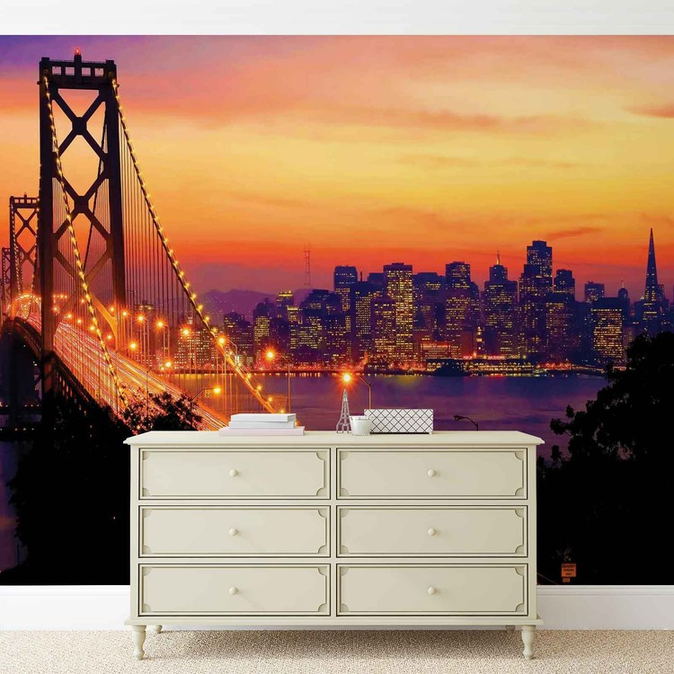 City skyline golden gate bridge wall paper mural buy at for Cityscape murals photo wall mural