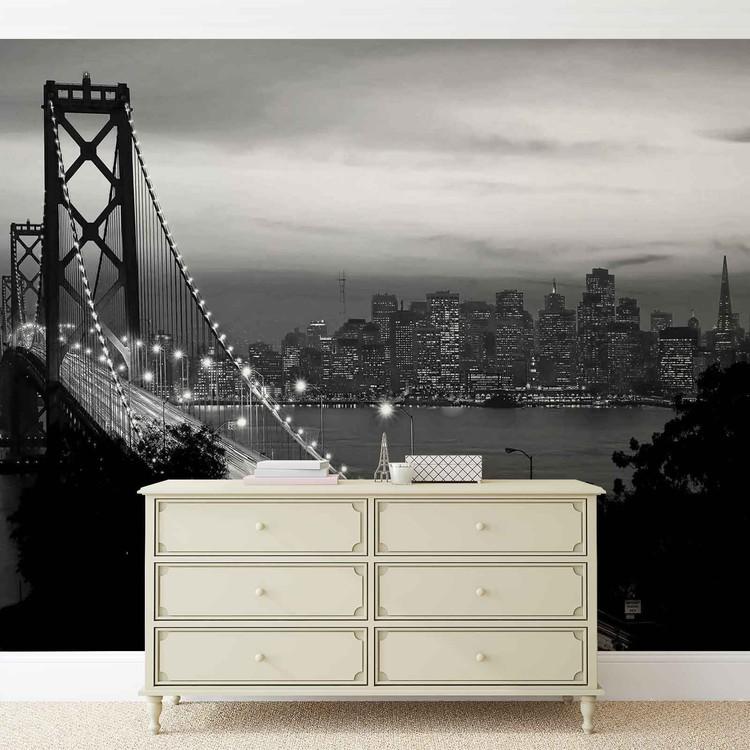City Skyline Golden Gate Bridge Wallpaper Mural