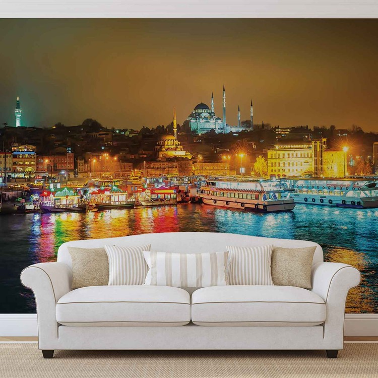 City Turkey Bosphorus Multicolour Wallpaper Mural