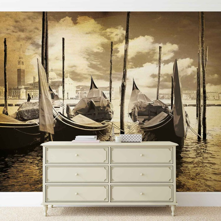 City Venice Gondolas Boats Sepia Wallpaper Mural