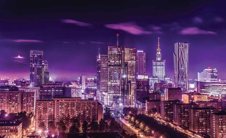 City Warsaw Night Travel Wallpaper Mural