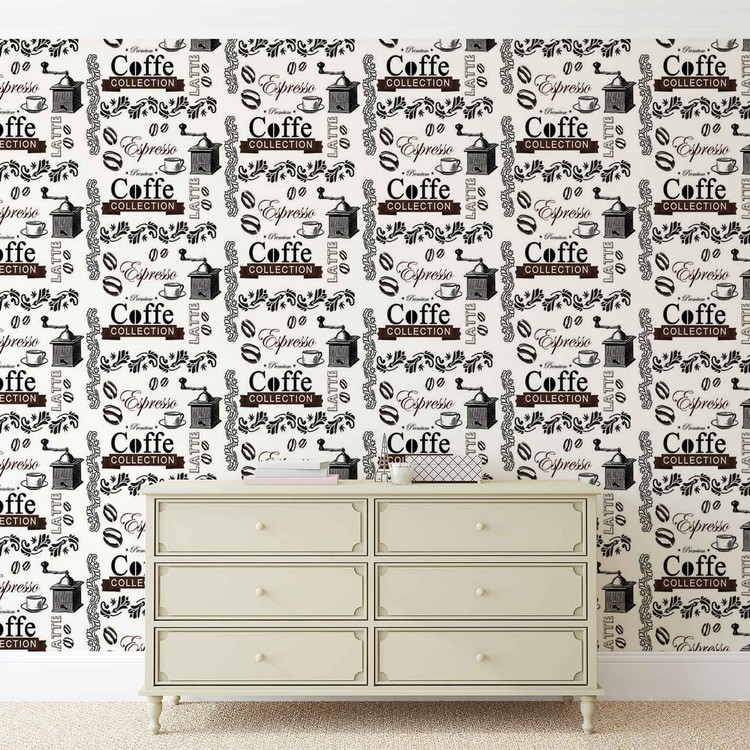 Coffee Pattern Wallpaper Mural