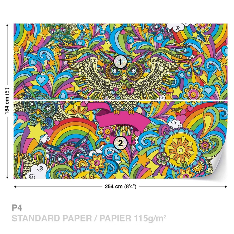 Colorful Owls Stars Rainbow Flowers Wallpaper Mural