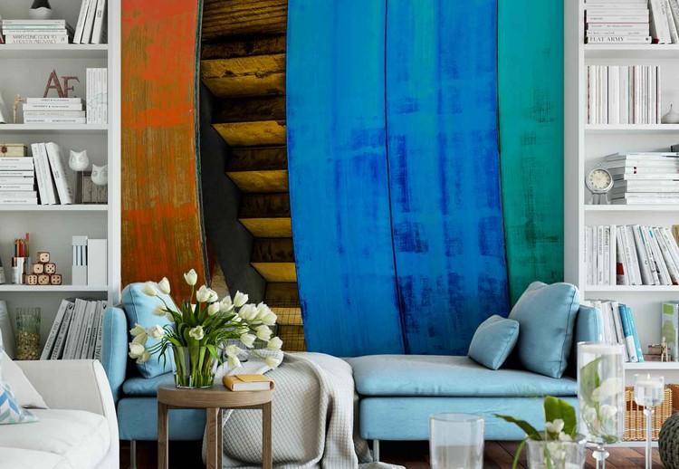 Colourful Wood Wallpaper Mural