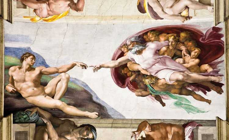Creation Adam Art Michelangelo Wallpaper Mural