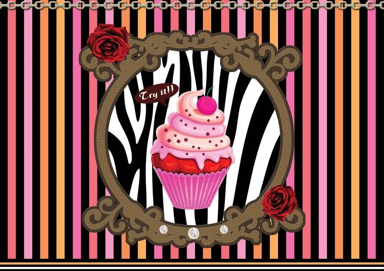 Cupcake Stripes Wallpaper Mural