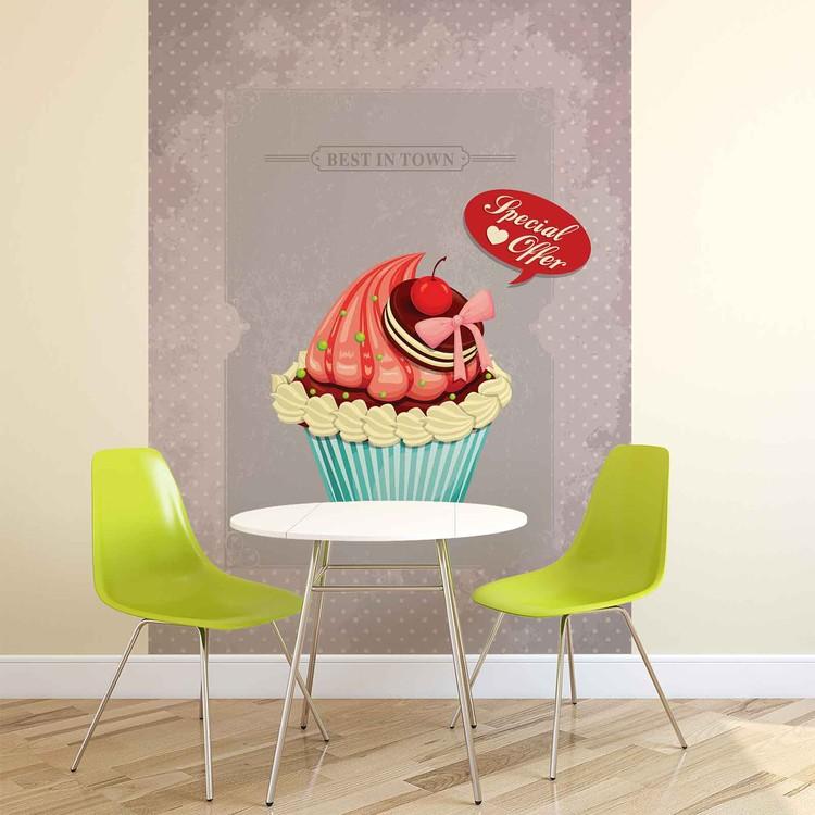 Cupcake Vintage Retro Wallpaper Mural