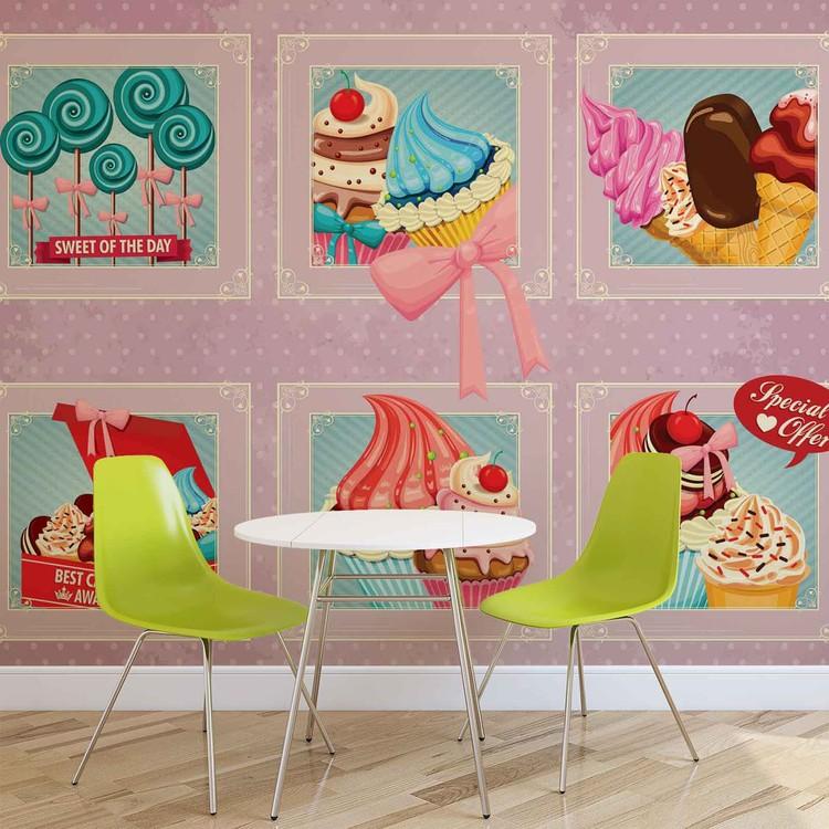 Cupcakes Pink Retro Wallpaper Mural
