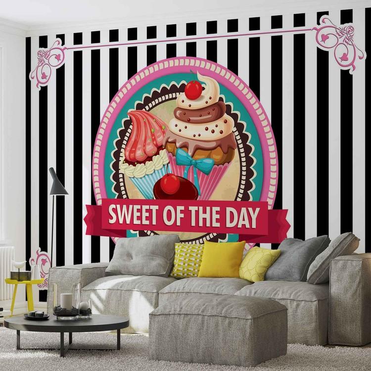 Cupcakes Retro Wallpaper Mural