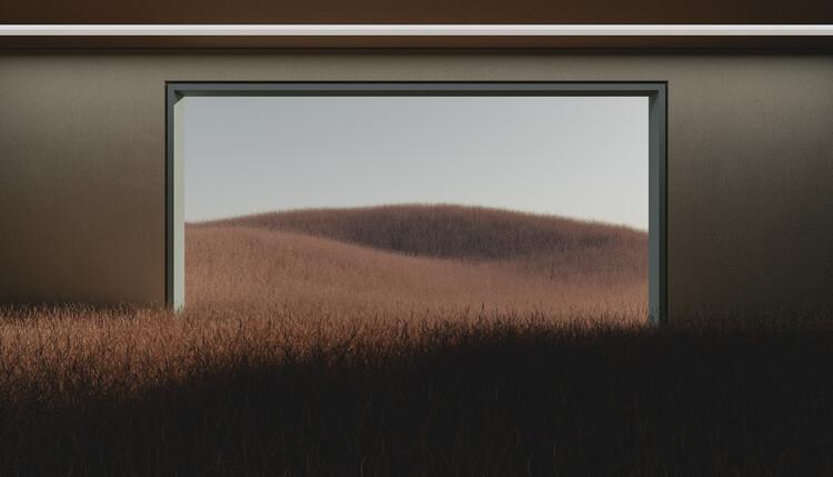 Wallpaper Mural Dark room in the middle of brown cereal field series  1