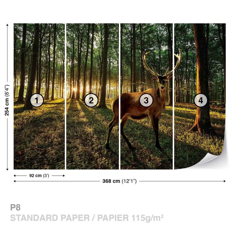 Deer Forest Trees Nature Wallpaper Mural