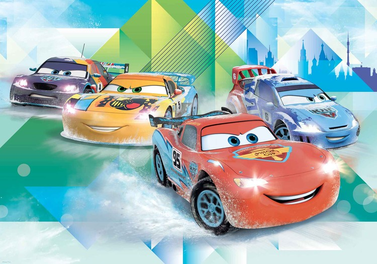 Disney cars lightning mcqueen camino wall paper mural for Disney cars wall mural