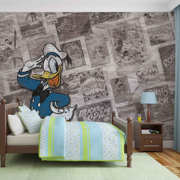 Disney Donal Duck Newsprint Vintage Wallpaper Mural