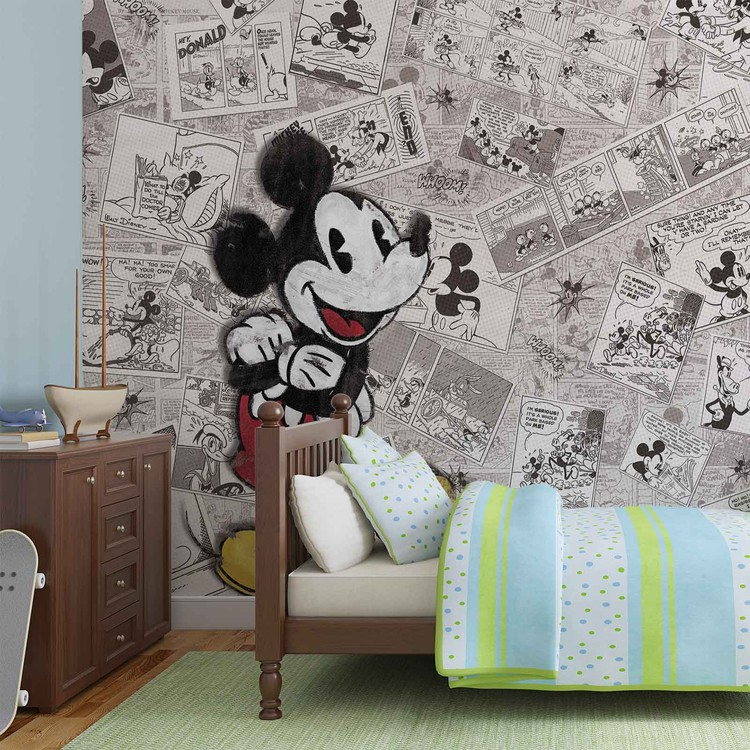 Disney Mickey Mouse Newsprint Vintage Wallpaper Mural