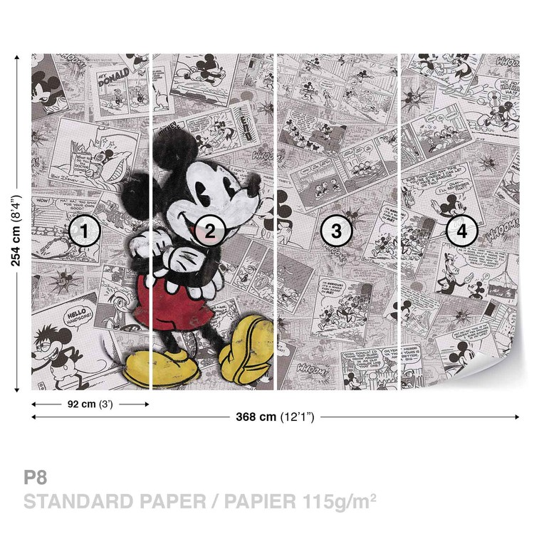 Disney Mickey Mouse Newsprint Vintage Wall Paper Mural Buy