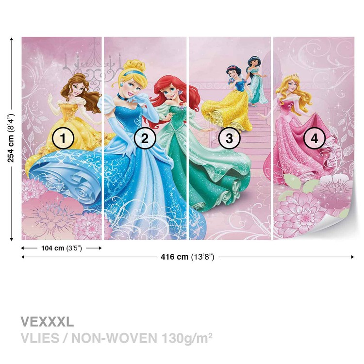 Disney Princesse Belle Belle Cinderella Aurora 3d Smashed Autocollant Mural Z710