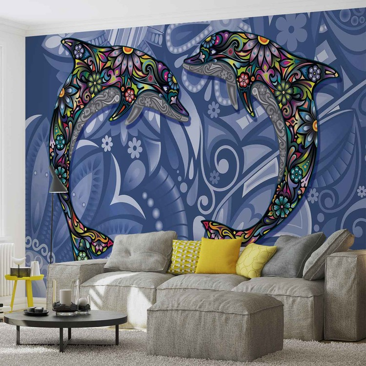 Dolphins Flowers Abstract Colours Wallpaper Mural
