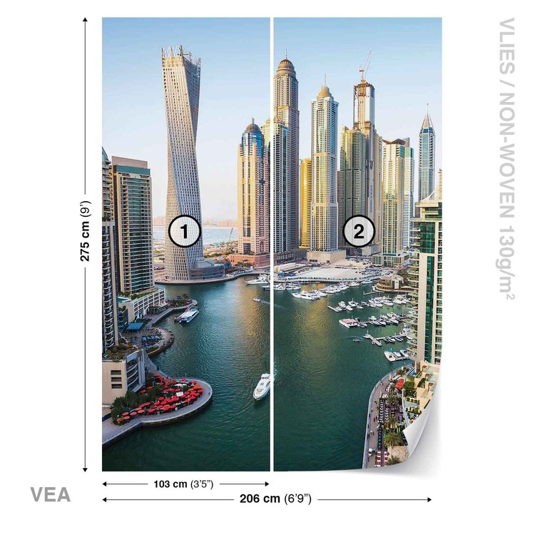 Dubai City Skyline Marina Wallpaper Mural