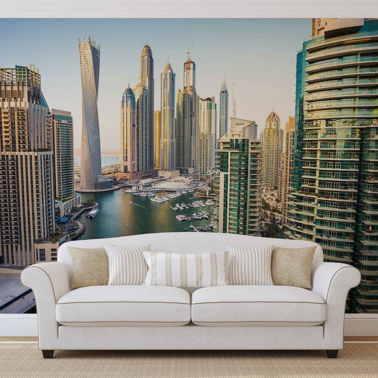 Dubai City Skyline Marina Wallpaper Mural