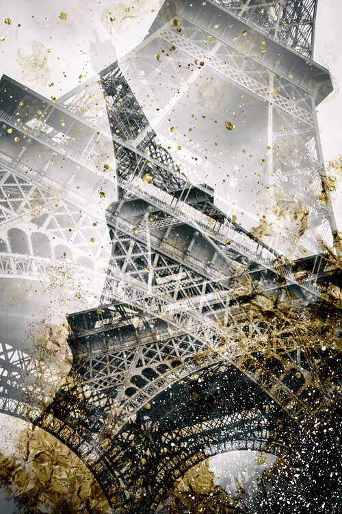 Eiffel Tower | Vintage gold Wallpaper Mural