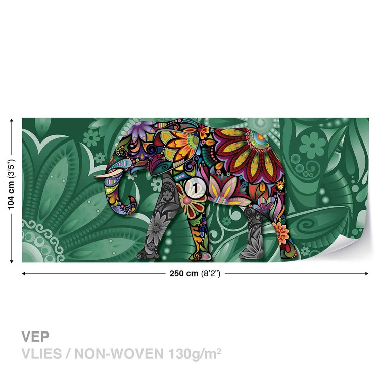 Elephant Flowers Abstract Colours Wallpaper Mural