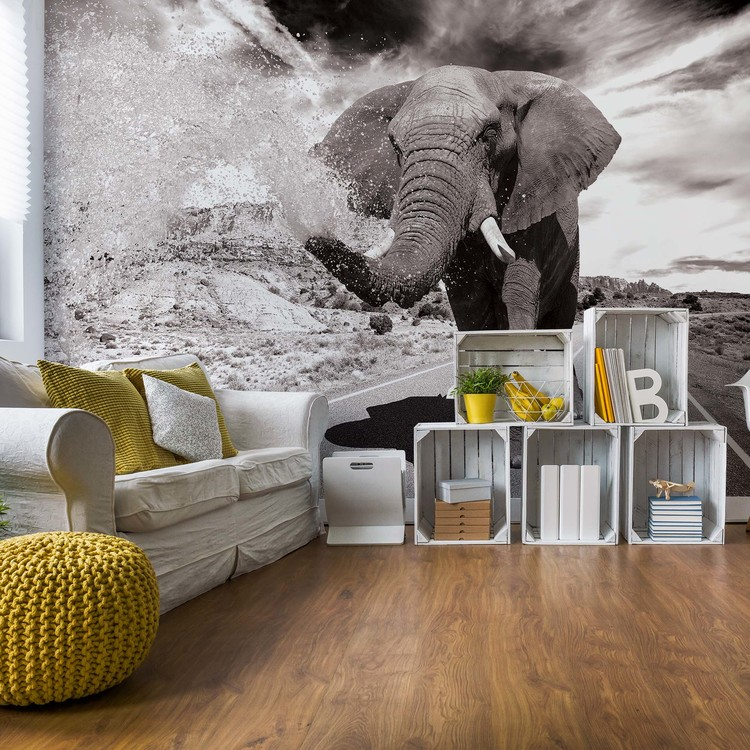Elephant Highway Black And White Wallpaper Mural