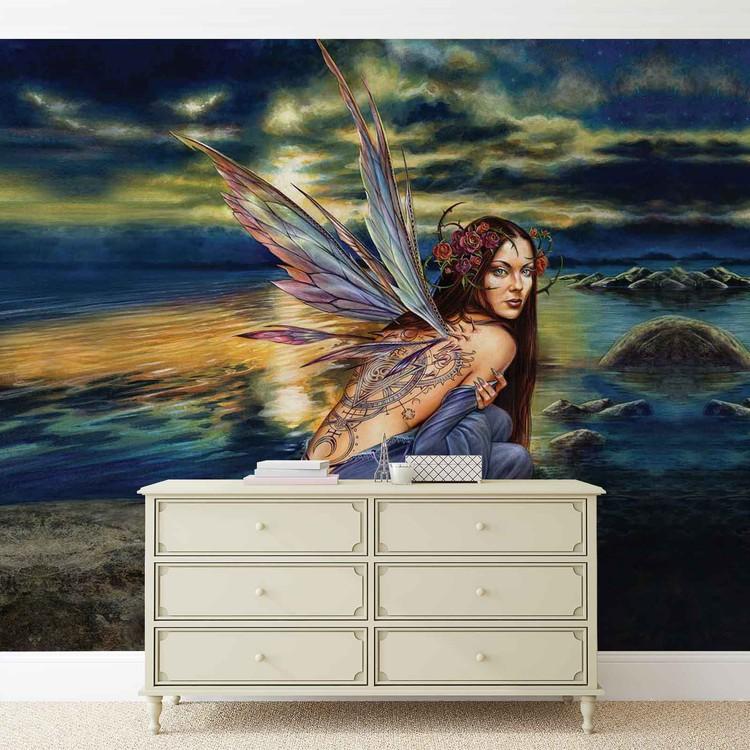 Fairy Sea Flowers Wings Wallpaper Mural