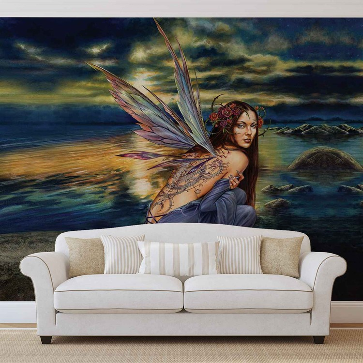 Fairy Sea Flowers Wings Wallpaper Mural
