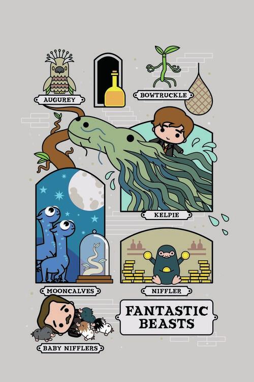 Wallpaper Mural Fantastic Beasts - Chibi