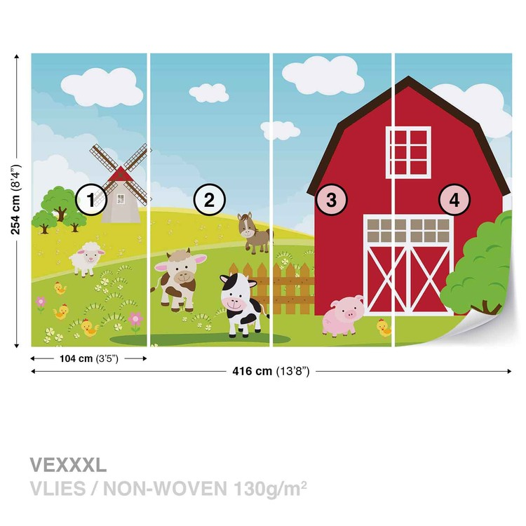 Farm Cartoon Boys Bedroom Wallpaper Mural