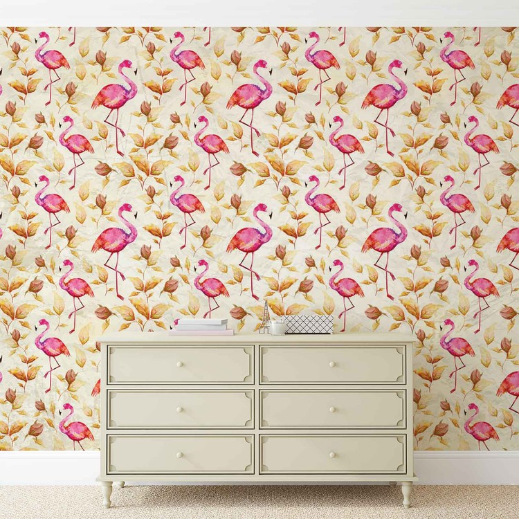 Flamingos Bird Pattern Wallpaper Mural