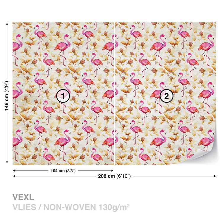 Flamingos Bird Pattern Wallpaper Mural