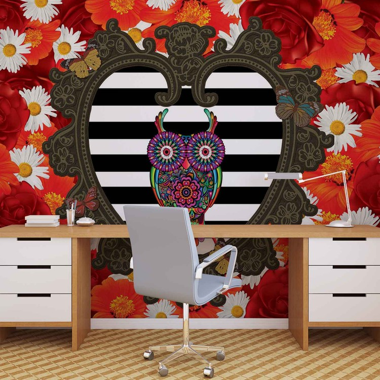 Floral Heart Owl Red Wallpaper Mural