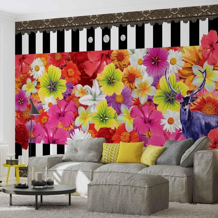 Floral Stripes Wallpaper Mural