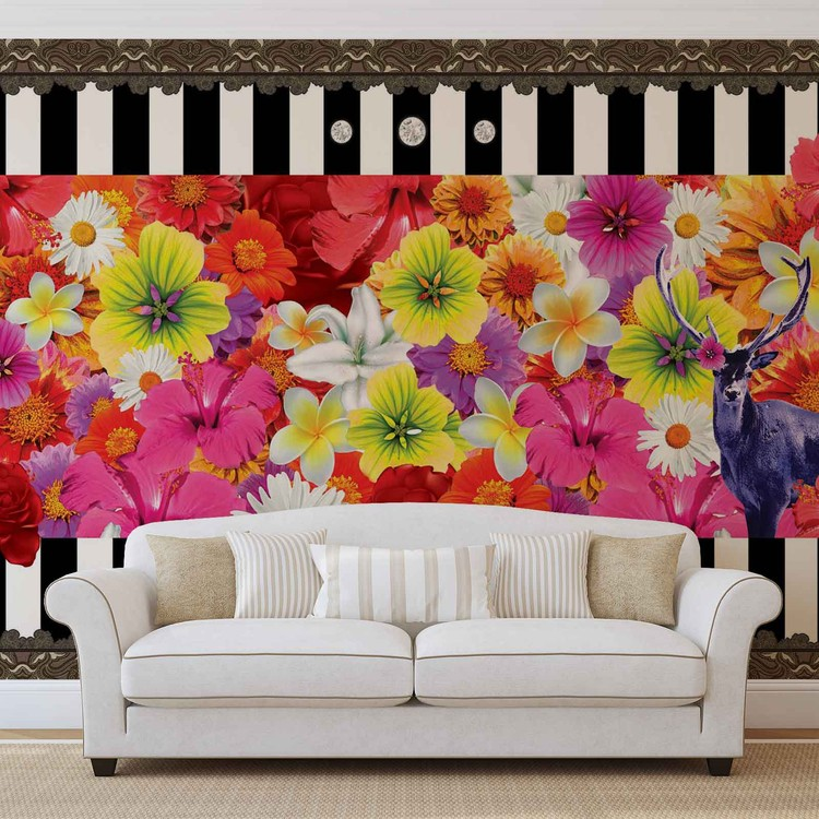Floral Stripes Wallpaper Mural