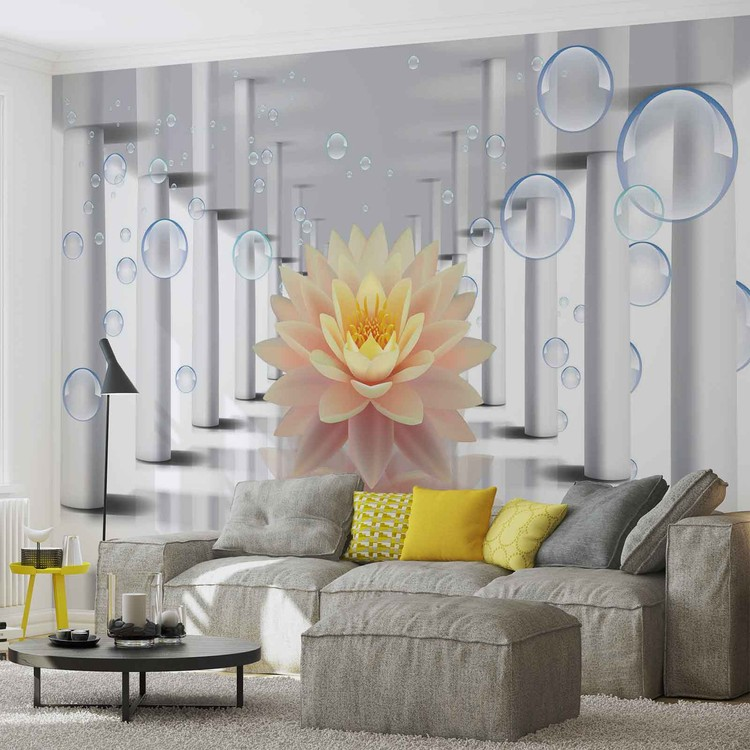 Flower Bubbles Pattern Wallpaper Mural