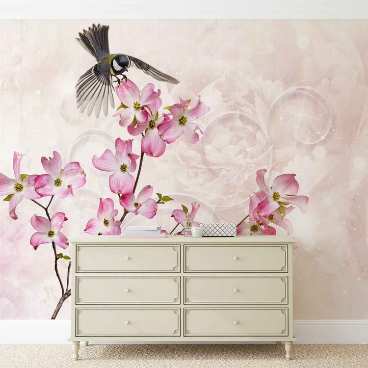 Flowers Bird Wallpaper Mural