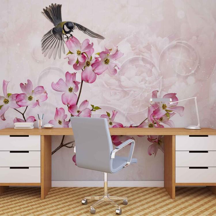 Flowers Bird Wallpaper Mural