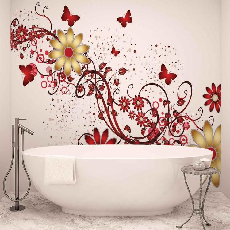 Flowers Butterflies Pattern Red Wallpaper Mural