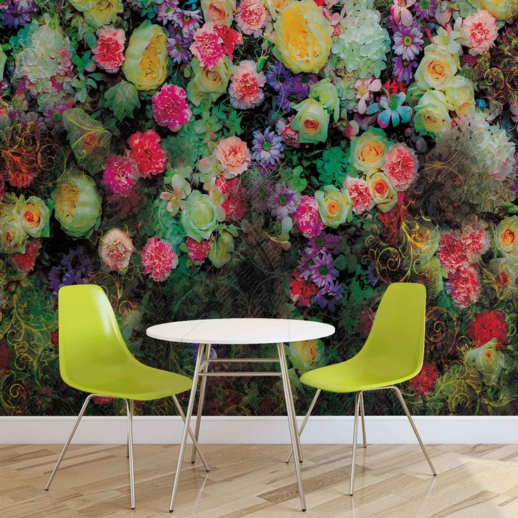 Flowers Colours Design Wallpaper Mural